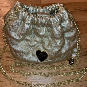 Betsey Johnson Gold Quilted Heart Mini Bucket Bag